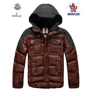DG2587 Mens Moncler dunjakker Button Zip Stil Dark Red [978e]